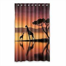 Brauch Giraffe Fenster Vorhang Window Curtain Licht Beweis Polyester Fabrik für Schlafzimmer oder Wohnzimmer 132 Zentimeters x 213 Zentimeters (ein Stück)