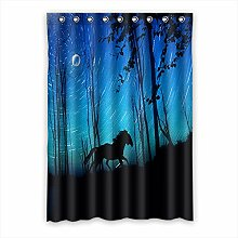 Brauch Horse Pferd Fenster Vorhang Window Curtain Licht Beweis Polyester Fabrik für Schlafzimmer oder Wohnzimmer 132 Zentimeters x 183 Zentimeters (ein Stück)