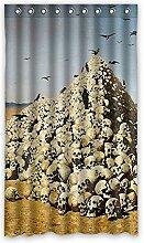 Brauch Scary Skulls Furchtsame Schädel Fenster Vorhang Window Curtain Licht Beweis Polyester Fabrik für Schlafzimmer oder Wohnzimmer 127 Zentimeters x 213 Zentimeters (ein Stück)