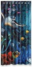 Brauch Sea Turtle Meer Schildkröte Fenster Vorhang Window Curtain Licht Beweis Polyester Fabrik für Schlafzimmer oder Wohnzimmer 132 Zentimeters x 275 Zentimeters (ein Stück)
