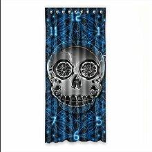 Brauch Sugar Skull Fenster Vorhang Window Curtain Licht Beweis Polyester Fabrik für Schlafzimmer oder Wohnzimmer 127 Zentimeters x 275 Zentimeters (ein Stück)