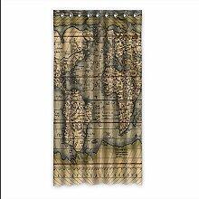 Brauch World Map Fenster Vorhang Window Curtain Licht Beweis Polyester Fabrik für Schlafzimmer oder Wohnzimmer 127 Zentimeters x 244 Zentimeters (ein Stück)
