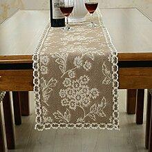 Braun Blume Weiß Spitze Tischläufer mit