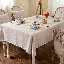 braun Kariert Tischdecken Baumwolle leinen Japanischer Stil Mittelmeer Esstisch Rezeption rechteckigen Square nicht bügeln umweltfreundlich garten Tischtuch