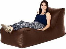 Braun Kunstleder bequeme Sofa Sitzsack Liege Sitz, ideal für drinnen und draußen
