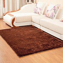 Braun rechteckigen Teppich / einfache moderne feste Couchtisch Teppich / Wohnzimmer Schlafsofa Nachttischdecke ( größe : 70*140cm )