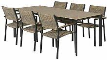 Braune Sitzecke für 6 Personen - Polywood/Alu -