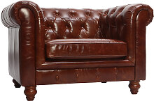 Brauner Design-Ledersessel CHESTERFIELD