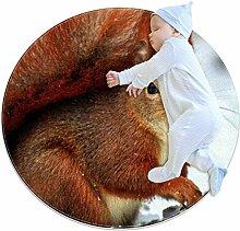 Brauner Teppich mit Eichhörnchen-Schnee, rund,