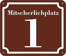 braunes Hausnummer und Straße Schild 2mm