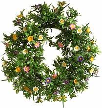 Brauns-Heitmann 65267 Deko-Kranz mit Blumen / ca. 30 cm / grün / bun