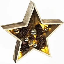 Brauns Heitmann LED Deko-Stern aus Holz mit Zapfen und Kugeln, 28 cm, natur-gold 87695