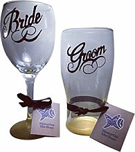 Braut und Bräutigam Gold Base-Set Pint-Glas und