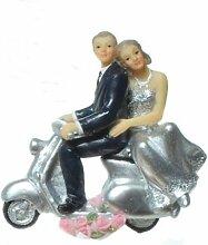 Brautpaar, Hochzeitspaar, Silber Hochzeit, Silberne Hochzeit | Silberpaar auf Roller, Motorrad (Roller Hand an Hüfte)