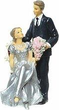 Brautpaar, Hochzeitspaar, Silber Hochzeit, Silberne Hochzeit | Silberpaar auf Sessel - Mann Stehend mit Blumen (Mann stehend mit Blumen)