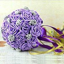 Brautstrauß 18 + lila Perlen Hochzeit Dekoration Hochzeitsgeschenk Braut Brautjungfer mit Blumen ( Color : Lila )