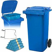 BRB 120 Liter Mülltonne blau mit Halter für