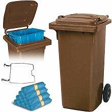 BRB 120 Liter Mülltonne braun mit Halter für