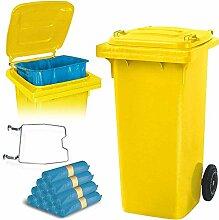 BRB 120 Liter Mülltonne gelb mit Halter für