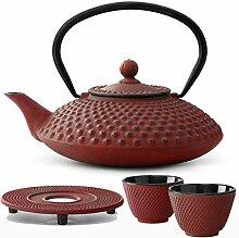 Bredemeijer Teekanne asiatisch Gusseisen Set rot