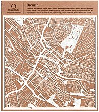 Bremen Scherenschnitt Karte, Weiß 30x30 cm