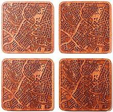 Bremen Untersetzer mit Landkarte aus Sapeli-Holz,