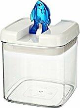 bremermann® Trockenfutter Vorratsdose mit Aroma-Deckel, Fischdekor (1 Liter, Blau, weitere Größen verfügbar)