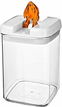 bremermann® Trockenfutter Vorratsdose mit Aroma-Deckel, Fischdekor (1,8 Liter, Orange, weitere Größen verfügbar)