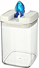 bremermann® Trockenfutter Vorratsdose mit Aroma-Deckel, Fischdekor (1,8 Liter, Blau, weitere Größen verfügbar)