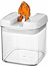 bremermann® Trockenfutter Vorratsdose mit Aroma-Deckel, Fischdekor (1 Liter, Orange, weitere Größen verfügbar)
