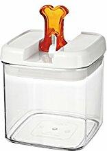 bremermann® Trockenfutter Vorratsdose mit Aroma-Deckel, Knochendekor (1 Liter, Orange, weitere Größen verfügbar)