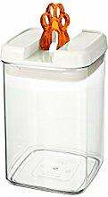 bremermann® Trockenfutter Vorratsdose mit Aroma-Deckel, Tatzendekor (1,8 Liter, Orange, weitere Größen verfügbar)