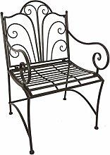 BRENDA Armstuhl aus dunkelrostfarbenem Schmiedeeisen, Sitzhöhe 45 cm