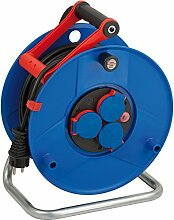 Brennenstuhl Garant IP44 Kabeltrommel (50m - Spezialkunststoff, kurzfristiger Einsatz im Außenbereich und rund ums Haus, Made In Germany) blau