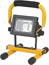 Brennenstuhl Mobile Akku Chip-LED-Leuchte / LED Strahler Akku (Außenleuchte 10 Watt, Baustrahler IP54, Fluter Tageslicht) Farbe: schwarz/gelb
