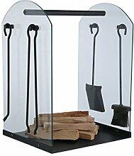 Brennholz-Aufbewahrung inkl. Kaminbesteck 4-teilig, Glas-Gestell als Kaminholzregal - bestehend aus Holzzange, Schürhaken, Kaminbesen und Besen
