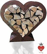 Brennholz Regal Herz Holzständer Edelrost
