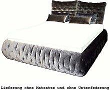 Bretz Bett Feya 180 x 200 cm Ausstellungsstück Velours schwarz-silber