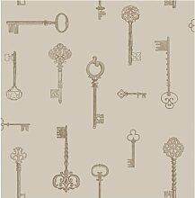 Brewster FD31057 Schlüssel Tapete - Taupe/Gold