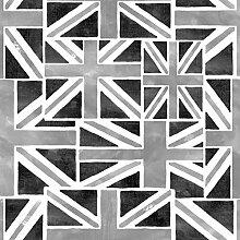 Brewster FD40244 Union Jacks Tapete, Schwarz/Silber
