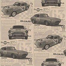 Brewster FD40392 Vintage Cars Tapete - Gold