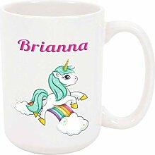 Brianna Unicorn 11oz Kaffee- oder Teebecher White
