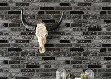 """Brick Wand Tapete dreidimensionalen Effekt Strukturierte Bricks Hochwertige Tapete 0,53m (52,8cm) * 10Mio. (32,8') = 5,3& # x33a1;, schwarz, 0.53m(20.8"""""""")*10m(32.8')=5.3㎡"""