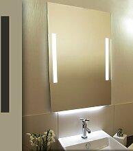 Bricode Süd 50 x 75 LED Lichtspiegel & Badspiegel warmweiß Twins (F) mit Kantenlicht unten