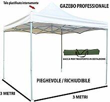BricoShopping Pavillon Faltbar klappbar Teleskop 3x 3Plane Wasserdicht Weiß für Märkte Veranstaltungen Camping Garten Bianco