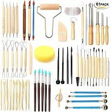 Briday - 61PCS Set Keramik-Skulptur-Werkzeuge, Ton