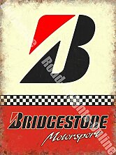 Bridgestone B Motorsport Reifen Rennsport Autos Werkstatt Metall/Stahl Wandschild - 30 x 40 cm
