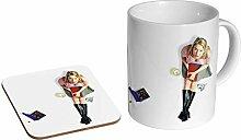 Untersetzer Geschenkset Jennifer Aniston Young Roses Keramik-Kaffeetasse