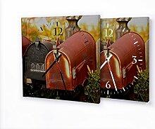 Briefkästen - Moderne Wanduhr mit Fotodruck auf Leinwand Keilrahmen   Fotouhr Bilderuhr Motivuhr Küchenuhr modern hochwertig Quarz   Variante:30 cm x 30 cm mit weißen Zeigern