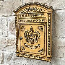 Briefkasten aus Gusseisen, antik, Gelb, 45 cm